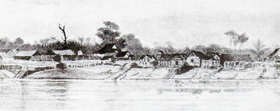 Sketch of Kuching Old Bazaar in 1839.