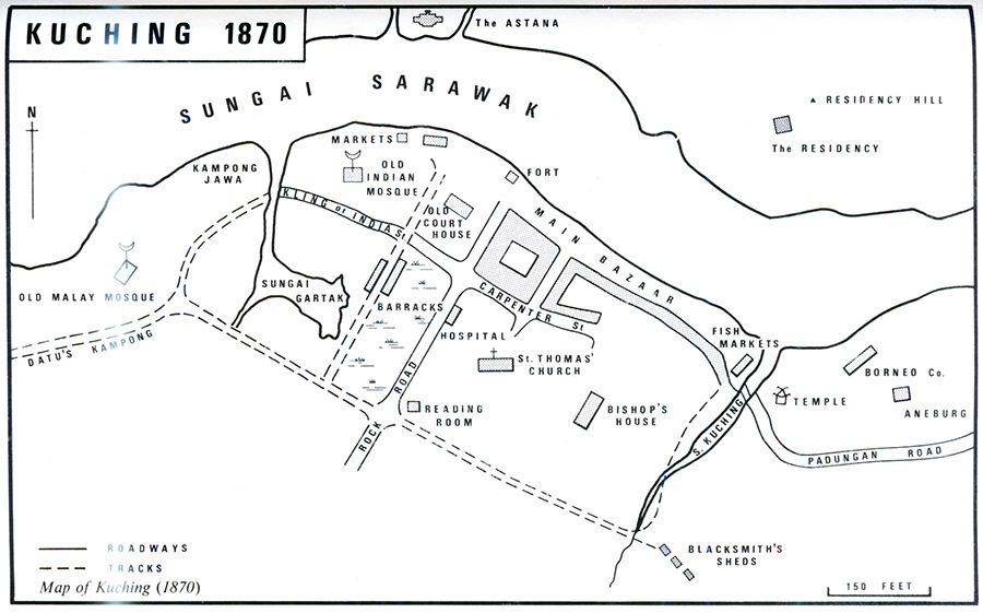 map of Kuching in 1870